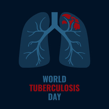 World Tuberculosis Day poster with illustration of lungs x-ray affected by the disease. TB awareness sign. Medical solidarity day concept. Vector illustration.
