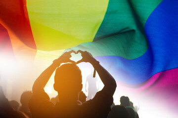 Silhouette People With Rainbow Flag