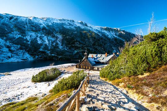 mountain shelter Samotnia in Karkonosze mountain during autumn in Poland