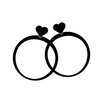 Wedding rings black icon. Vector illustration
