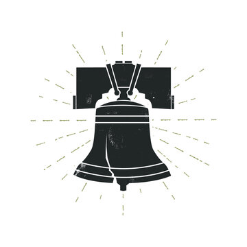 Liberty bell with grunge effect. Vector illustration.