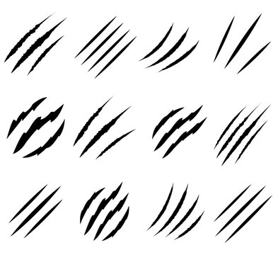 Claws scratches set icon, logo isolated on white background