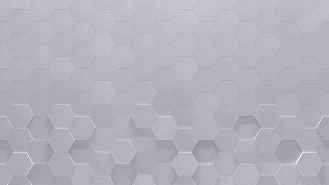 Metal Hexagon Tiled Wall (3d Illustration)