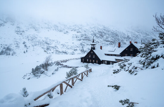 mountain shelter Samotnia in Karkonosze mountain during snowy winter in Poland