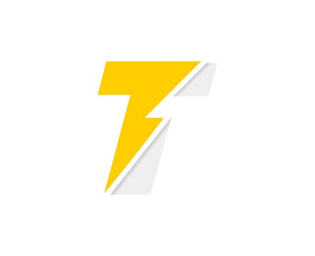 T letter logo, vector font with lightning flash power icon