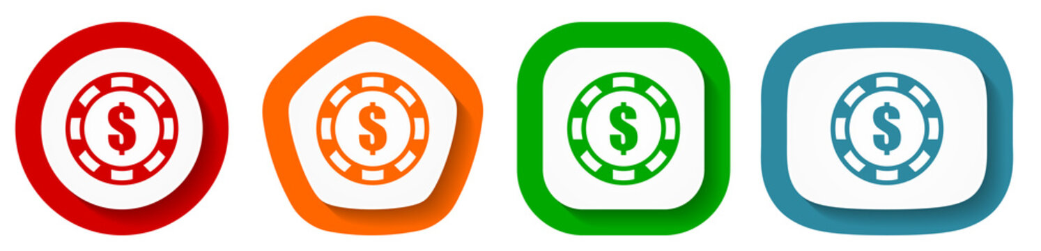 Casino chip vector icon set, flat design buttons on white background for webdesign and mobile phone apps