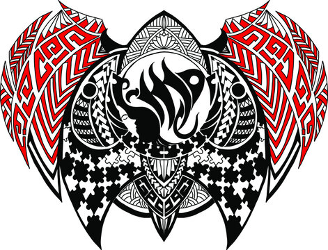 Girl zodiac or Virgo zodiac and tribal tattoo.Ethnic themes can be used as body sleeve tattoo or ethnic backdrop.