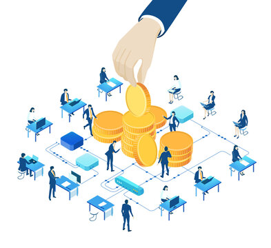 Isometric 3D concept illustration, banking, savings, earning and investments. Hand of businessman pop up coin bank. Business people working around coins stacks