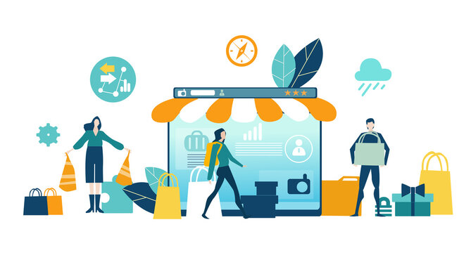 Online shopping concept illustration. Spend money, buy gift, people making inline orders