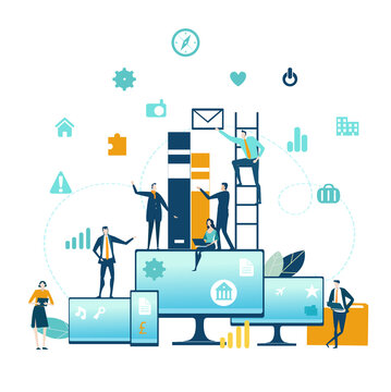Cloud Computing with Business people and communication icons. Information search, connection, working remote, keeping data safe idea