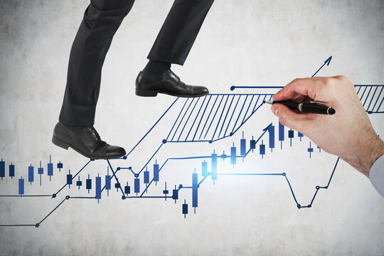 Business man legs climbing up on financial stock market chart. to beat the market. Financial analysis and financial forecasting concept. Concrete wall.
