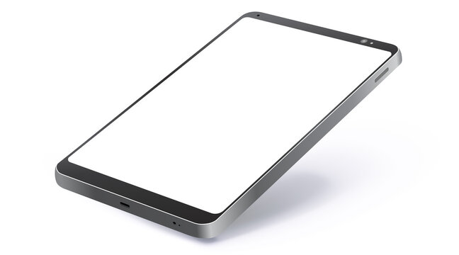 Black Tablet Computer Realistic Vector Mockup With Perspective View. Tablet PC Screen Isolated on White Background.