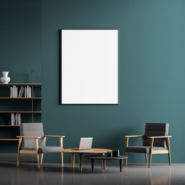 Living room interior, table with chairs and a framed vertical poster above it. mock up