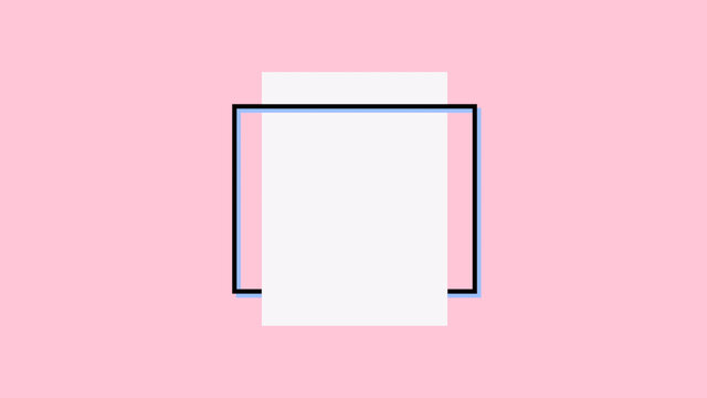 Abstract geometric white shape for text, pink retro background
