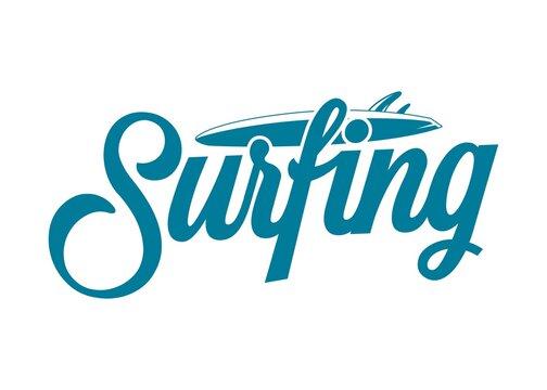 hand draw surfing vintage logo