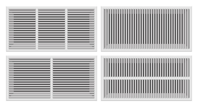 Bathroom ventilation grilles set vector illustration