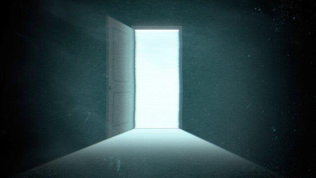 Mystical horror background with dark door of room, abstract backdrop