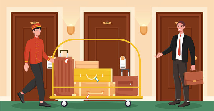Male porter helps client to carry his luggage to his room. Porter in uniform is roling a cart with luggage in a hotel hall. Flat cartoon vector illustration