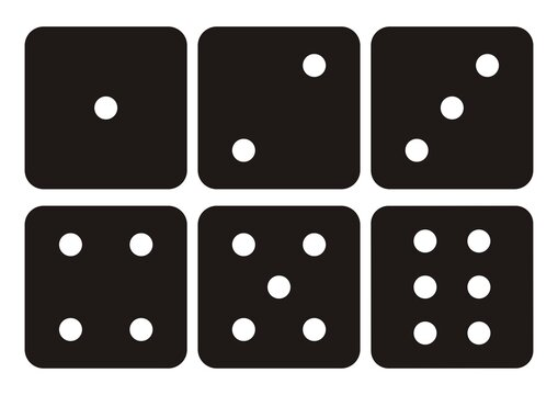 Dice, black silhouette, set of icons. Traditional dice with six faces of cube marked with different numbers of dots or pips from 1 to 6.