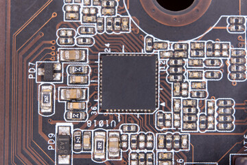 Wall Mural - Close up blank microchip on Electronic circuit board.