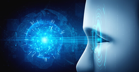 Robot humanoid face close up with graphic concept of AI thinking brain , artificial intelligence and machine learning process for the 4th fourth industrial revolution. 3D rendering