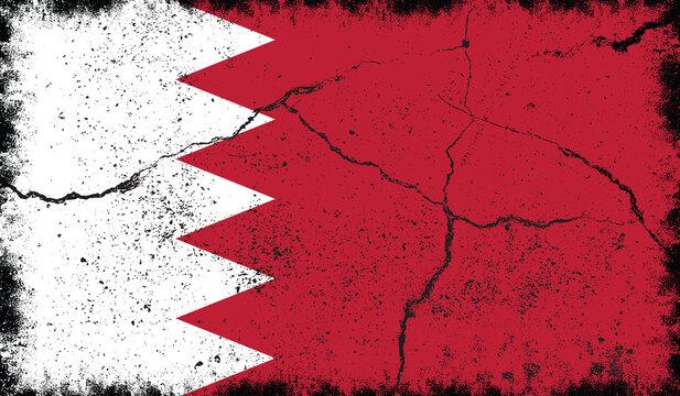 Grunge Bahrain Flag Premium Vector