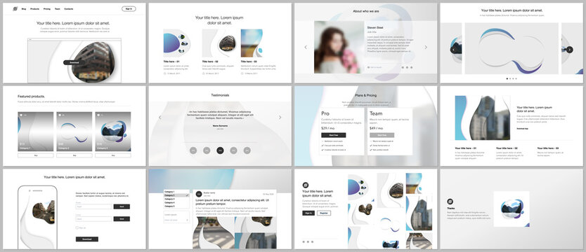 Vector template for website design, presentations, portfolio. Templates for presentation slide, flyer, leaflet, brochure cover, annual report with fluid colorful trendy blue gradients geometric shapes