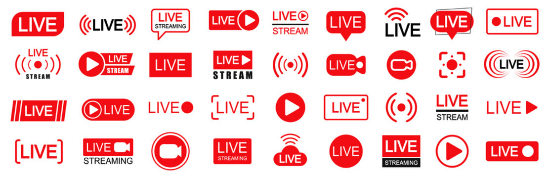 Set of live streaming icons. Set of video broadcasting and live streaming icon. Button, red symbols for TV, news, movies, shows - vector