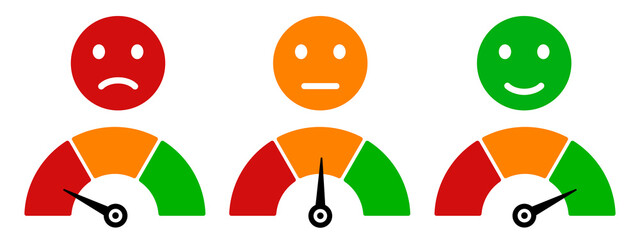 Obraz Colored scale speed, emoji faces icons, valuation by emoticons, measuring device tachometer speedometer indicator with different colors, satisfaction barometer - vector - fototapety do salonu
