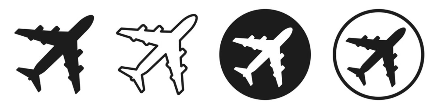 Set airplane icon symbol, collection plane sign - stock vector
