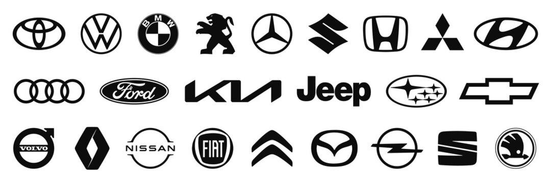 Kiev, Ukraine - February 07, 2021: Set logo of popular brands of cars, collection of car emblems.