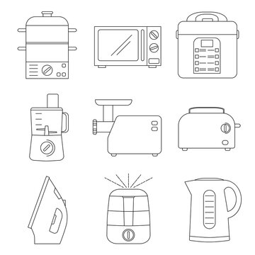 Small appliances line icons