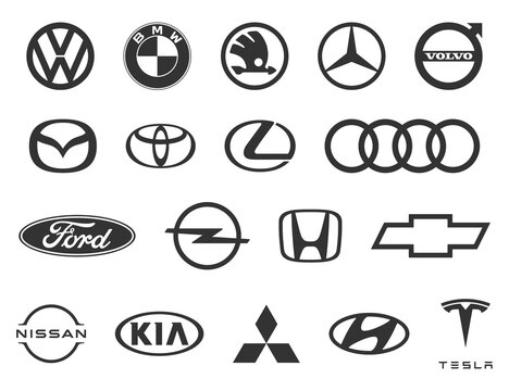 Logo of cars brand. Set of popular brands of car. Black automobile emblems at white background. Automotive industry leaders. Vector.
