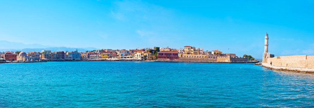 Panorama of Chania marina with Firkas Fortress and Venetian lighthouse, Crete, Greece