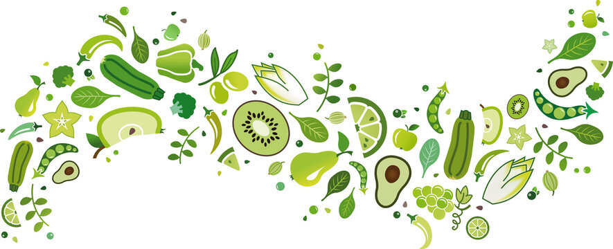 green fruit and vegetables banner – vector illustration. Flat lay of drawn food and ingredients icons isolated on white. Healthy eating, balanced diet or dieting, vegetarian / vegan, detox, nutrition.
