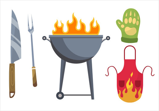 Barbecue icons. Set of elements for grilling. BBQ grill place, gloves, fork, knife and apron. Everything is ready for a family party