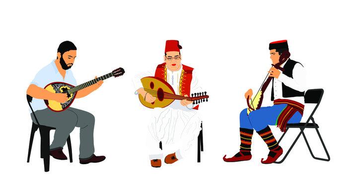 Greek, Turkish and Balkan folklore music trio. Bouzouki player and oriental Balgama, zurna with Serbian musician guslar on instrument gusle. Bosnia folk artists. Arab man play oud, lute or mandolin.
