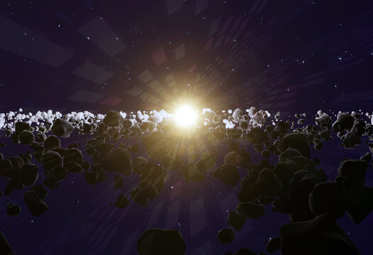 A lot of asteroids or meteorites in space, 3d illustration