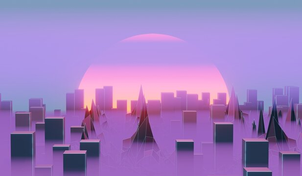 Futuristic evening city with skyscrapers in haze and setting sun, big city smog, 3d illustration