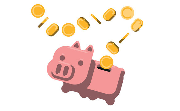 piggy bank with coins flat design vector illustration