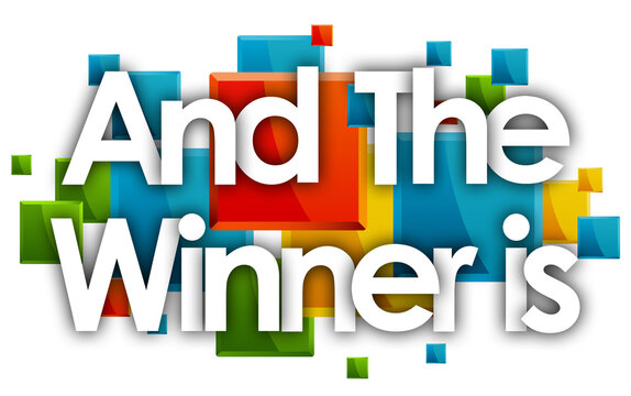 And the winner is word in colored rectangles background