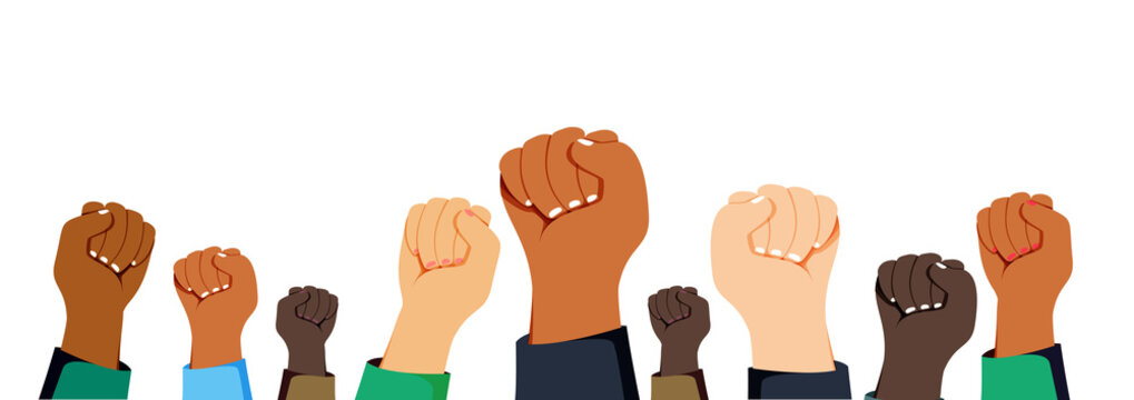 black lives matter raised up mix race fists awareness campaign against racial discrimination of dark skin color support.