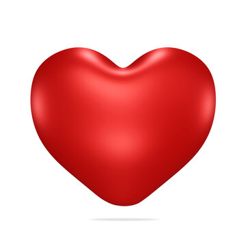 heart, red, valentine's day, isolated on white background, 3d render