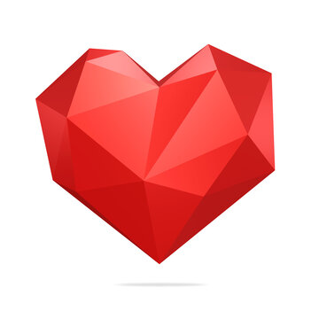heart, red, valentine's day, polygonal, isolated on white background, 3d render