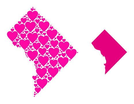 Love collage and solid map of District Columbia. Collage map of District Columbia formed with pink lovely hearts. Vector flat illustration for love concept illustrations.