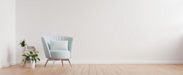 Fototapeta The interior has a armchair on empty white wall background. obraz