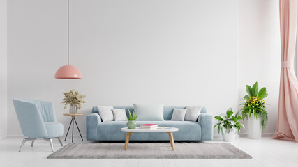 Fototapeta Living room interior wall mockup in bright tones with have sofa and lamp with white wall background. obraz