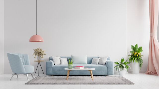 Living room interior wall mockup in bright tones with have sofa and lamp with white wall background.