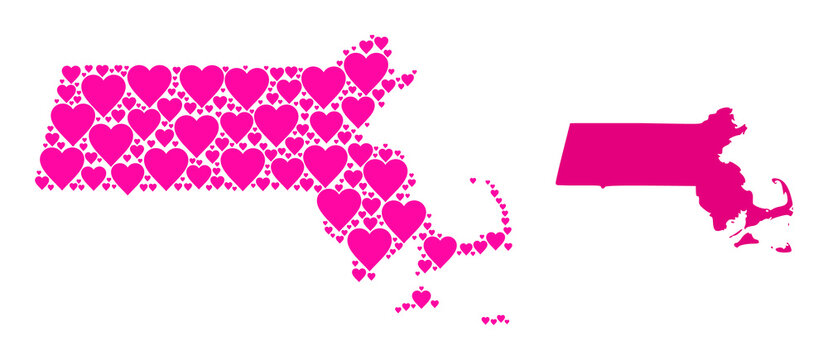 Love mosaic and solid map of Massachusetts State. Collage map of Massachusetts State is composed with pink love hearts. Vector flat illustration for love abstract illustrations.