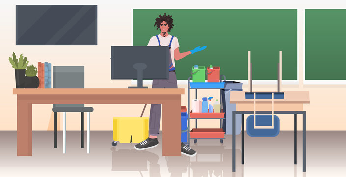 professional cleaner male janitor cleaning and disinfecting floor to prevent coronavirus pandemic modern school classroom interior horizontal full length vector illustration